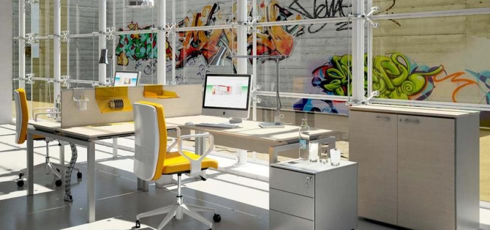 Arredare l ufficio scrivania suko con cassettiera per for Arredare ufficio in casa